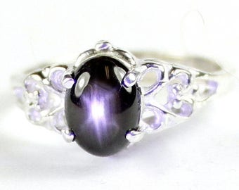 On Sale, 30% Off, Black Star Sapphire, 925 Sterling Silver Ring, SR302