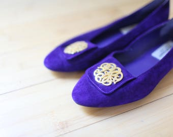 vintage purple & gold suede wedge womens 7 1/2