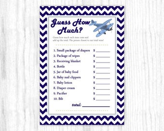 Guess How Much Baby Shower game, Printable Party Games, Baby Shower Games - Aviation Theme, Airplane, Blue Chevron, 5x7 size