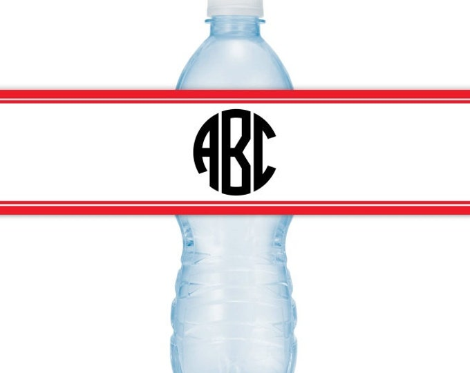 CUSTOM Printable Water Bottle Labels, CUSTOMIZED Circle Monogram, Choose Your Colors, you print, you cut, DIY water bottle labels
