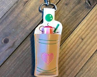 Lip Balm Holder, Coffee Lip Balm Keychain, Coffee Lip Balm Cozy, Frappe Chapstick Holder