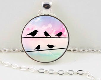 Birds on Wire Necklace, Bird Pendant, Jewellery, Bird Jewellery, Gift for Her, Australian Made