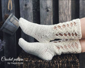 Crochet pattern: woman lacy socks,all women sizes,ladies long socks,lace,adult,girl,slippers,boots,boot socks,loafers,crochet cables