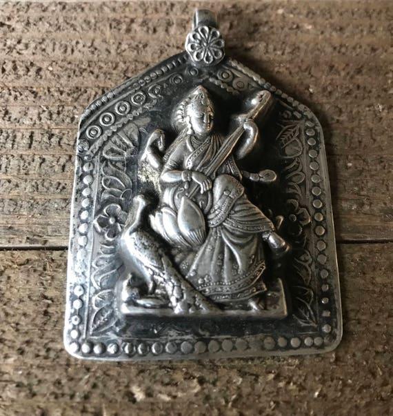 Saraswati Rajasthan Pendant - Saraswati Amulet - Saraswati Pendant - Rajasthan Jewelry - Hindu Jewelry - Goddess Pendant - Spiritual Gift