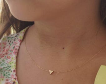 SALE gold necklace, triangle necklace, tiny gold triangle necklace, triangle, geometric jewelry,dainty necklace,gift for her, D22