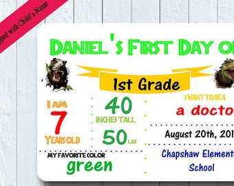 1ST Day of School Dry Erase Board/ 1st Day of School Board/First Day of School Photo Sign/Dinosaur Photo Prop/Back to School/SB2