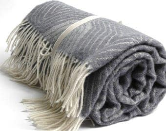 Pure Merino Wool blanket with fringes Striped Grey White Wool blanket Pure wool throws Merino Wool throw 51''X81''130X205cm Perfect gift