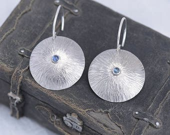 Topaz Jewellery, Blue TopazEarrings, Textured Round Silver Earrings with Blue Topaz, December Birthstone Earrings, Wellbeing Topaz Jewelry