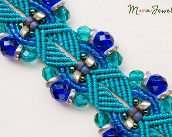 Teal and blue macrame bracelet, micro-macrame, gold, sparkly, beadwork, bohemian, boho, sea, gypsy queen, chunky, beaded cuff, with tassel