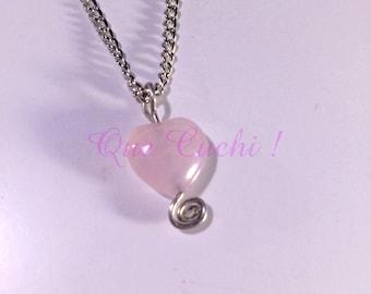 Pendentif coeur de pierre Quartz rose avec chaîne