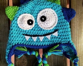 READY TO SHIP Crochet baby monster hat 6-12 months
