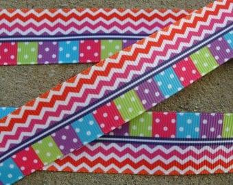 "Rainbow Printed Ribbon 7/8"" hair bow ribbon rainbow ribbon by the yard Grosgrain ribbon"