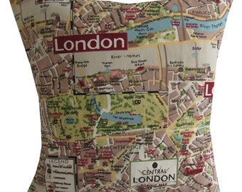 "Designer british london map handmade retro cushion cover 16"" - 24"""