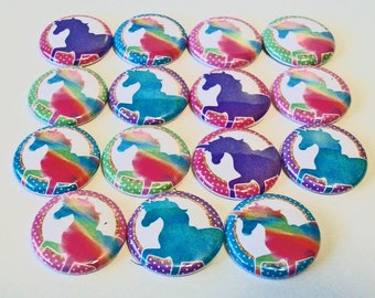 Colorful Rainbow Unicorns Set of 15 1 inch Flat Back Buttons Embellishments Buttons Flair