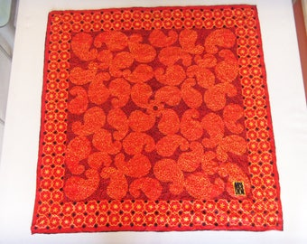 Vintage MISS DIOR Silk Scarf, Lava Chick Square by Ray Strauss, Made in Japan, 70's