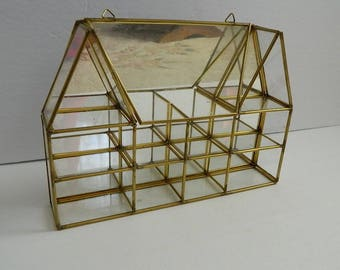 Vintage Glass and Brass Mirrored House Shaped Miniature Curio Display