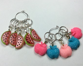 Knitting Stitch Markers - beaded stitch markers, progress keeper - set of 5 - stitch savers - wip markers - apples - watermelon