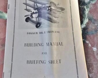 """ON SALE - Vintage Fokker DR.1 """"Tripe"""" 1917-18 Triplane Balsa Wood Model Kit"""
