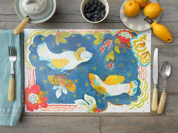 Paper placemat set of 12, Reversible, Lovebirds in the Lilies and Moth designs by Kimberly Hodges, paper placemats, disposable placemat