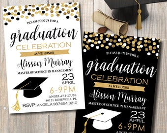 Graduation Invitation, Graduation Announcement, Graduation Party Invitation, Gold confetti, Digital Files to Print