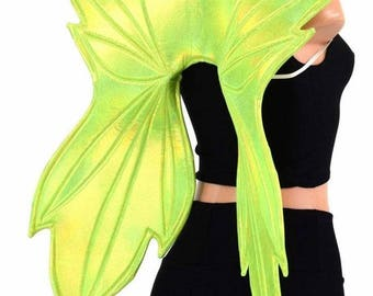 Lime Green Holographic Wireless Fairy Wings Sparkly Holographic Shiny Faerie Fae Elf Elvish (Wings Only) - 154760