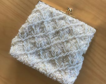 White Beaded Clutch Bridal Cocktail Purse