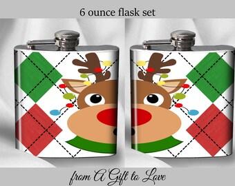SALE - Hip Flask Set - Reindeer Flask Set - Christmas  Flasks - Alcohol - Liquor - Stainless Steel - 6 oz.-  - Cyber Monday
