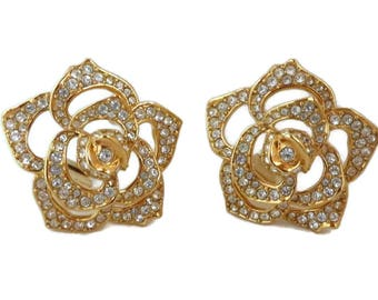 Elizabeth Taylor Crystal Rose Earrings, Vintage AVON Designer Clip-on Earrings