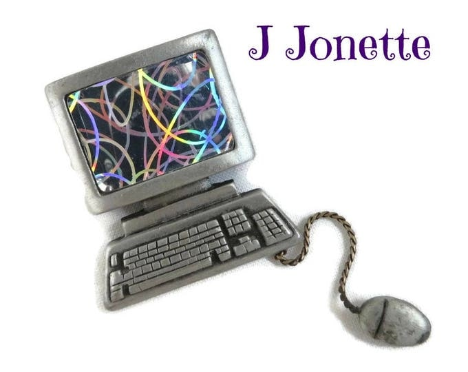 JJ Computer Brooch, Vintage Pewter Silver Tone PC, Mouse, Colorful Pin, Gift for Her,