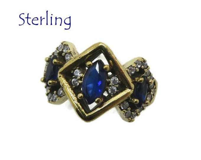 Sterling Silver - Faux Sapphire Ring, Vintage Three Stone Ring, Two Tone Silver Ring Size 8, Gift Box, Perfect Gift, FREE SHIPPING