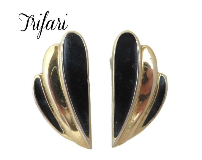 Trifari Earrings - Vintage Black & Gold Earrings, Signed Designer Clip-ons, Gift for Her, Gift Box, FREE SHIPPING