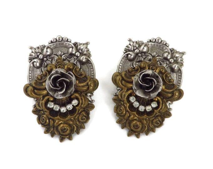 Victorian Style Two Tone Earrings | Vintage 1950s Rhinestone Pierced Post Earrings