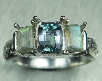 0.45ct Rare Natural blue Green Kornerupine 925 Sterling Silver, Platinum, Palladium, 9ct 14k 18k 22k yellow white red Gold ring all sizes