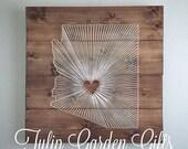 Heartstrings State String Art Wall Hanging - Pallet Style, State Thread Art, State Fiber Art