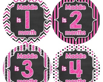 PERSONALIZED Baby Girl Month Stickers Monthly 12 Month Sticker Monthly Baby Stickers Baby Shower Gift Photo Prop Milestone Sticker 508