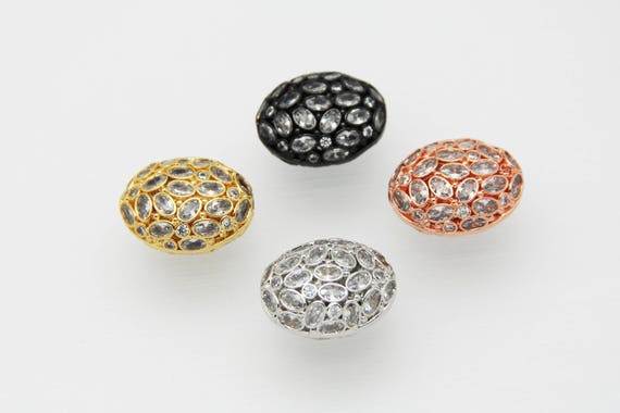 CZ Micro Pave 20x26mm  Free Form CZ Oval Beads