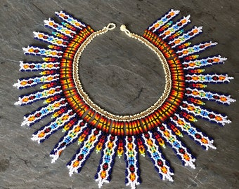 Tribal Beaded Bib Necklace~ rainbow white