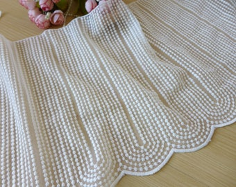 "Delicate Embroidered Mesh Lace Off White Cotton Lace Fabric Trim 8.3"" wide Lace By The Yard"
