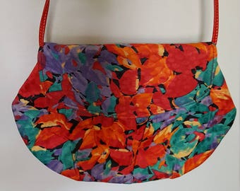 Floral Vintage 1990's Purse Convertible Clutch Shoulder Bag