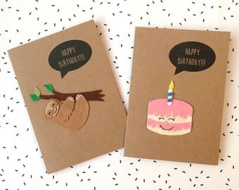 Sloth Felt Card, Greetings Card, Cute Birthday Card, Kawaii Sloth Badge Option
