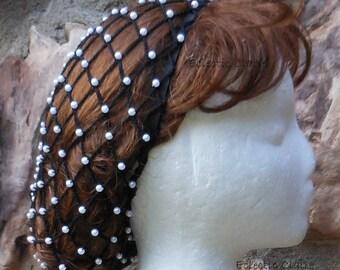 "Hair Snood Renaissance Victorian Beaded Black Hair Net Hat Pearl Beads 3- 4"" Below SHOULDER Length Hair Small & Large Pearl Beads"