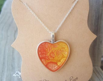 Bezel heart charm necklace yellow heart charm necklace heart charms silver heart bezel heart necklace bezels bezel charms mother day gift