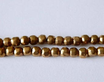 SALE 6mm Brass Faceted Beads