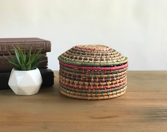 Coiled Woven Basket with Lid