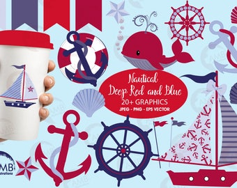 Nautical Cliparts, Sailboat Clipart in Red and Blue, Yachting Anchors, Whales Sailboats Seashells, commercial use, AMB-521