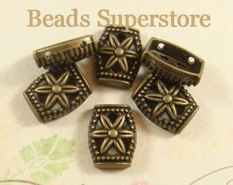 14 mm x 11 mm Antique Bronze 2 Hole Bead Spacer - Nickel Free, Lead Free and Cadmium Free - 10 pcs