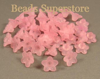 10 mm x 5 mm Pink Lucite Flower Bead - 44 pcs