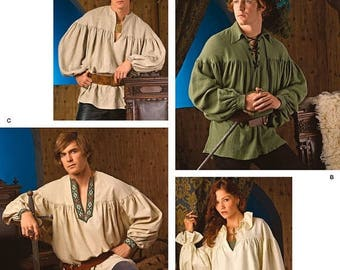 3519 Simplicity, Misses, Men & Teen Costumes, Tunic Sewing Pattern, Renaissance Shirt, Poet, Colonial, Pirate