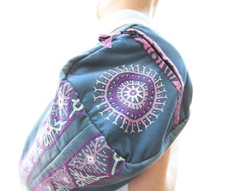 Hand Embroidered Enlightened Yoga Mat Bag - Grey