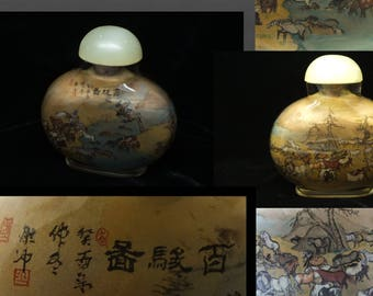 Old Chinese Inside Painted Signed Snuff Bottle 'Hundred Horses'